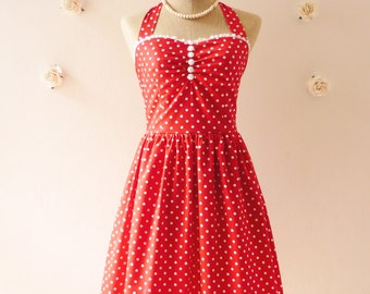 Red Sundress Red Bridesmaid Dress Summer Dress Tea Dress Party Dress Red Polka Dot Dress Bustier Dress  -Size XS, S, M, L, XL,CUSTOM-
