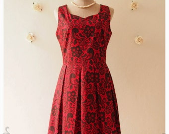 NOW SALE -- Red lace print dress red sundress vintage inspired dress mini dress summer Dress bridesmaid dress day dress -Size S
