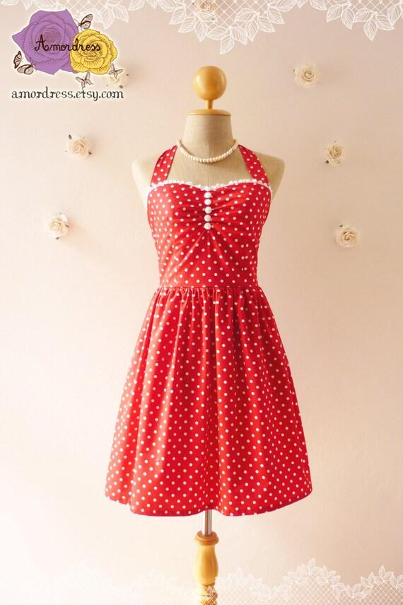 Red Sundress Red Bridesmaid Dress Summer Dress Tea Dress Party Dress Red Polka Dot Dress Bustier Dress  -Size XS, S, M, L, XL,CUSTOM-
