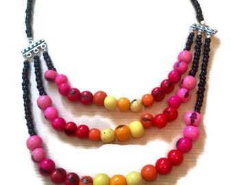 Red Spectrum three stranded Acai Beaded Necklace