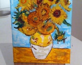 Cute Mini Vincent Vang Gogh, Sunflowers Painting, Acrylic on Canvas