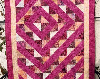 CLEARANCE SALE Quilted Wall Hanging, Batik Burgundy and Cream