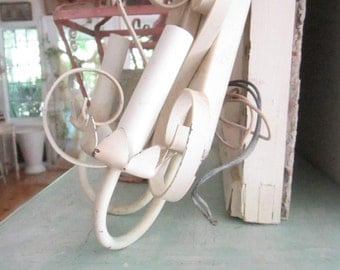 Vintage shabby  chippy white wall sconce light fixture shabby decor prairie cottage chic