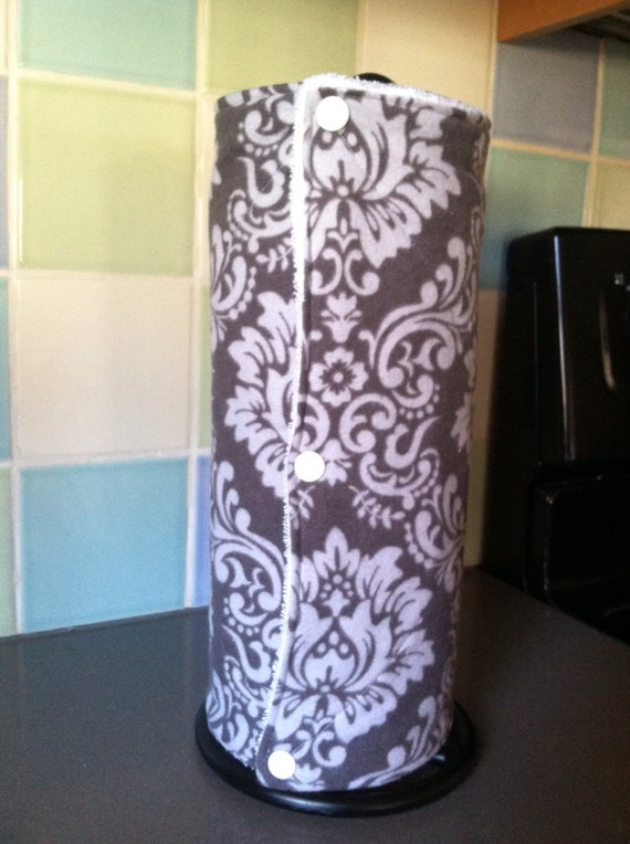 Reusable UnPaper Towels with Snaps Cloths Gray Damask Set of 10
