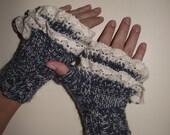 Knit Fingerless Gloves - Winter Mittens-