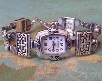 Silver Double Strand Bracelet Watch Handcrafted Silver Blue Watch