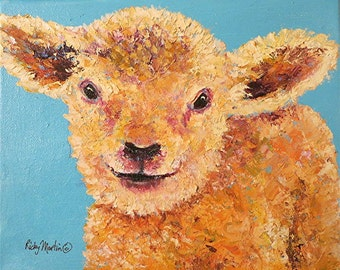 Lamb Impasto, Palette Knife Acrylic  Painting - Original Art -  FREE SHIPPING -   ebsq Artist Ricky Martin