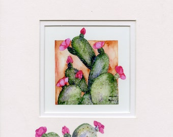 Giclee print matted of a Prickley Pear Catcus