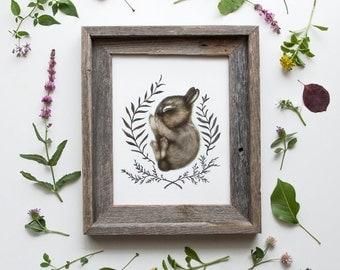 Sleeping Baby Bunny Framed Print 8x10, Watercolor Woodland Nursery Print