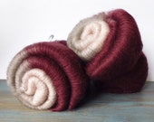 Merino fiber batts in oxblood, steel grey and cream - Sophisticated - hand carded gradient art batts - 2 x 50 grams