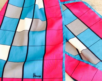 1960-70s VERA NEUMANN Scarf with Vibrant Pink, Blue, Grey and White Colours