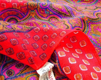 Vintage CHALLIS by Berkshire Scarf with Red, Purple and Green Colours
