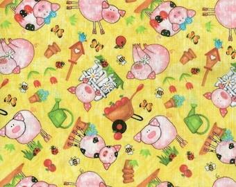 Fat Quarter, Barnyard Bunch by Blank Quilting, Pig Fabric, Farm Fabric, Yellow Fabric, 02193