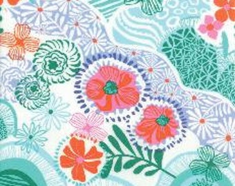 Modern Floral Fabric, Retro Fabric, Flowers, Daydreams by Moda, Teal Fabric, Floral Fabric, Orange Fabric, 05084