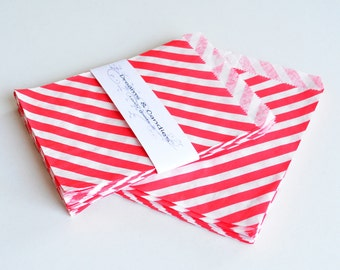 "50 Patterned Red Lines Paper Bags Size 5 1/8 x6 3/8"" -Candy Bags -Birthday Paper Bags -Red Paper bags -Wedding Favor Bags -Birthday Bags"