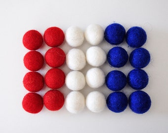 4th of July Felt Ball Set, Fourth of July, Patriotic, Memorial, 24 Pieces Wool Felt Balls
