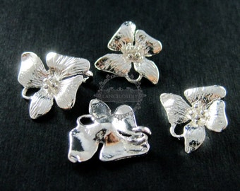 6pcs 15x15mm silver plated brass orchid flower pendant charm earrings chandelier DIY jewelry supplies 1820152