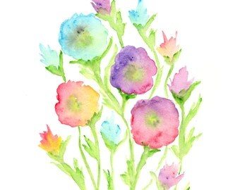 Watercolor flower painting, watercolor painting, flower print, flower art, abstract flowers, summer decor, abstract poppies, 8X10 print