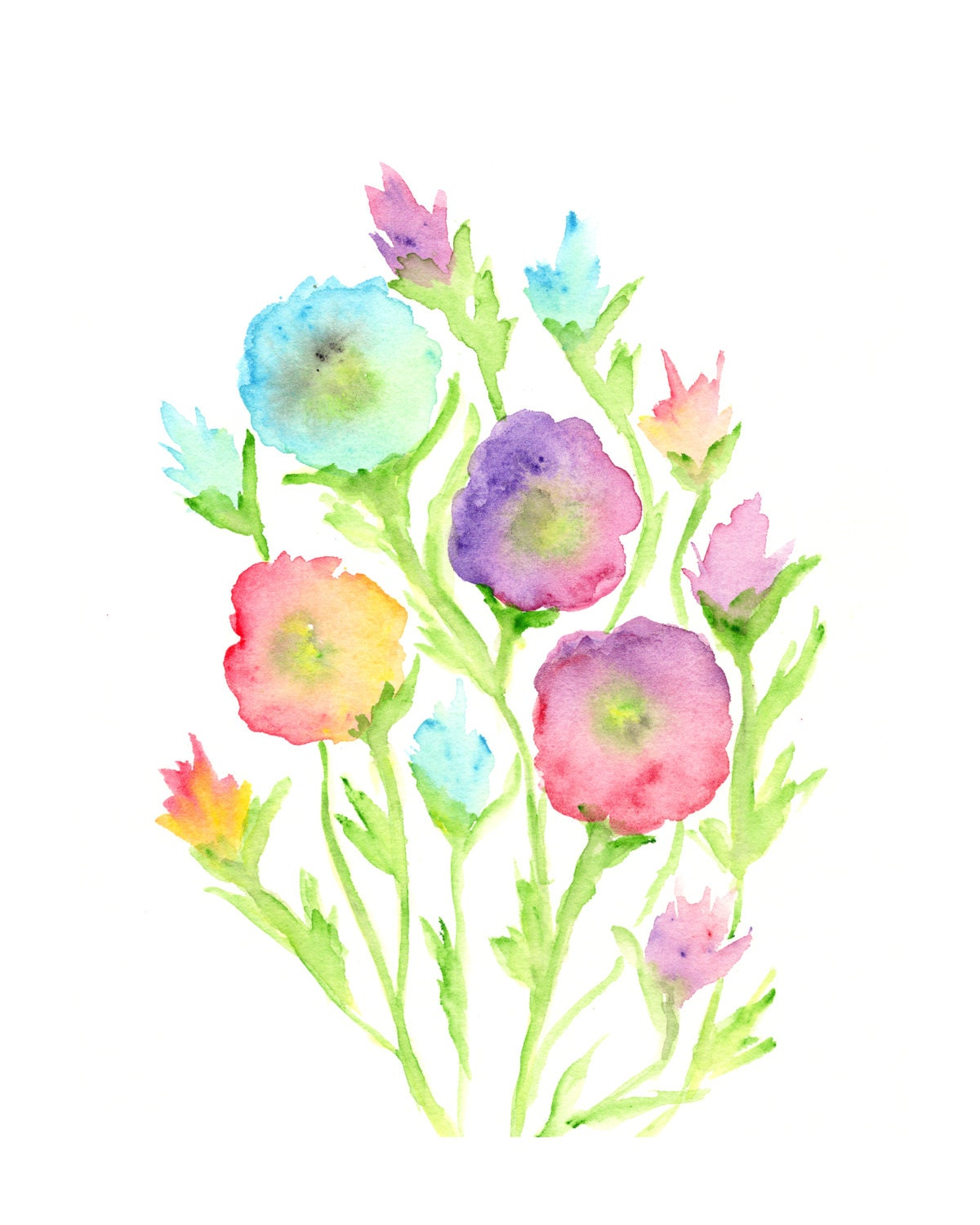 Watercolor flower painting watercolor painting flower print for Watercolor flower images