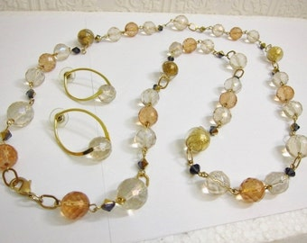 Vintage Faceted Glass Crystal Foiled Lucite Bead Necklace & Earrings