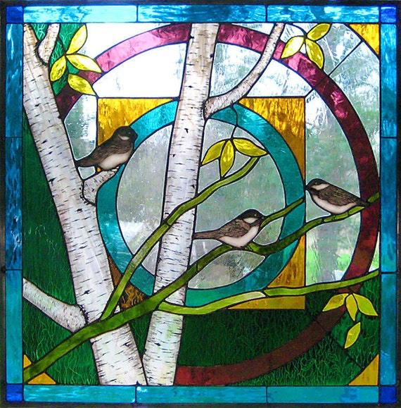 Chickadee mandala stained glass art window panel beautiful for Art nouveau fenetre
