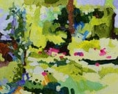 """Original Abstract Landscape Painting, 10""""W x 8""""H, Acrylic - """"Coneflower"""""""
