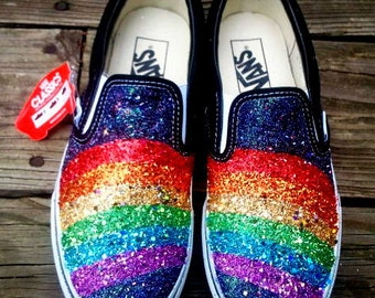 GLITTER RAINBOW handpainted sparkle black VANS slip on sneakers unisex any size