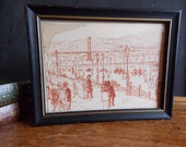 SALE   Early 1900's Golden Gate Bridge Pen and Ink Drawing