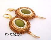 Bead tutorial, Sunflower earrings, Earrings pattern with seed beads and lunasoft  cabochon