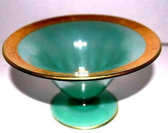 green and gold  glass art glass footed bowl  compote  center piece