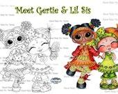 INSTANT DOWNLOAD Digital Digi Stamps My Besties TM Big Eye Big Head Dolls Gertie and Lil Sis By Sherri Baldy