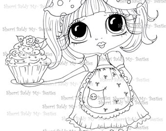 INSTANT DOWNLOAD Digital Digi Stamps Big Eye Big Head Dolls Digi  My Besties Cupcakes By Sherri Baldy