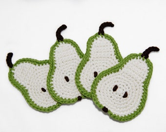 Slice Pear Coaster- Set of 4- crochet coasters- Kawaii-Crochet Fodd Coaster-Green and white