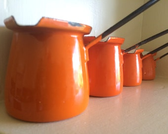 Orange Enamel Measuring Cups, Set of 4 from Poland
