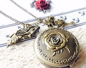 Alice in Wonderland Pocketwatch Necklace Happy Angel -Large VSQ022