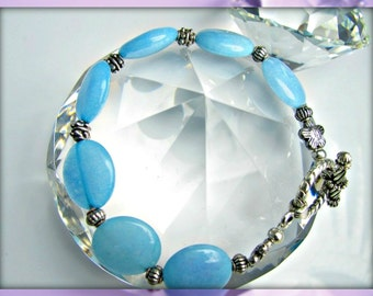Natural Blue Jade Gemstone Beaded Bracelet