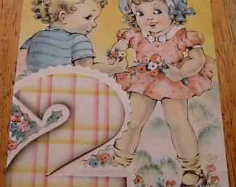 Vintage birthday card 2 year old 1940s