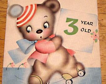 Vintage birthday card 3 year old 1940s