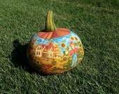 Thanksgiving or Fall Pumpkin, Stuffed Fabric Scenic Pumpkin, Home Decor - Fall Decor
