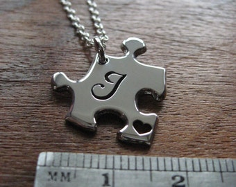 Handmade Initial J Puzzle Pendant Necklace