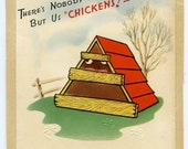 Vintage 1947 Happy Birthday card-Nobody Here But us Chickens...