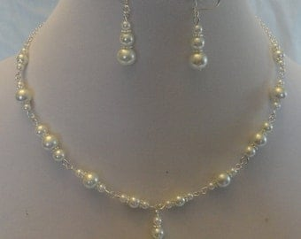White Pearl and Silver Necklace and Earring Set