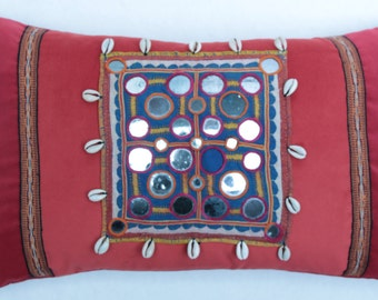 Vintage Hand Embroidered and Mirrored Tribal Pillow.