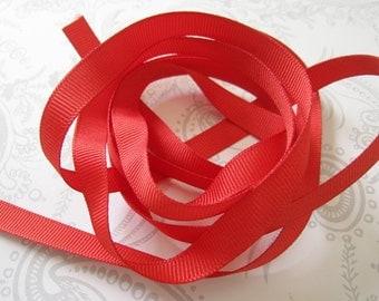 Red Grosgrain Ribbon 3/8 -- 3 yards -- Matte -- 9.5mm