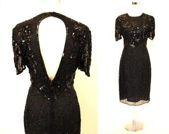 Vintage Black Beaded Sequin 20s 30s style 1980s Open Back Dress S/M