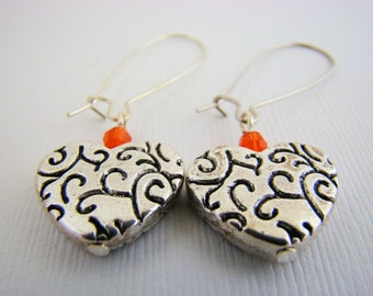 Dangle Earrings, Etched Hearts, Silver, Crystal, Orange, For Her