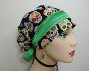 Woman Surgical Cap - Folklorico - Alegria - Black/Green