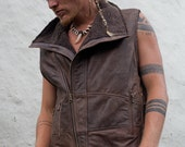 Mens Leather vest  leather mens biker vest mens burning man leather jacket
