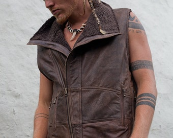 Mens Leather vest  leather mens biker vest mens burning man leather jacket