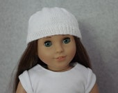 Knitted Doll Hat in White